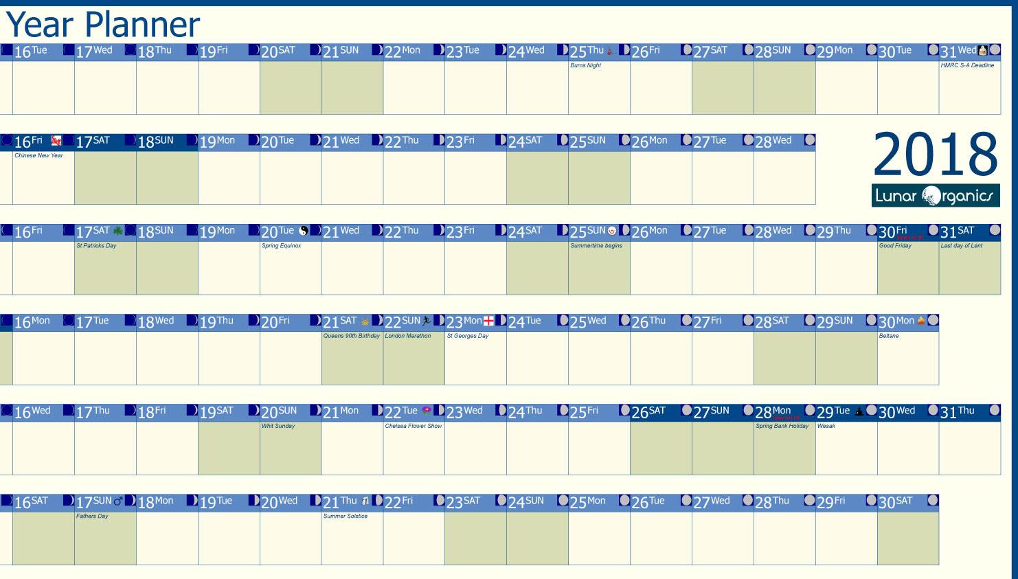 Year Planner Calendar : Professional year planner lunarorganics